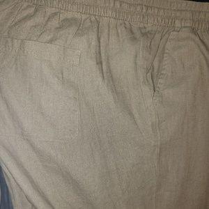 Linen womens plus crop pant